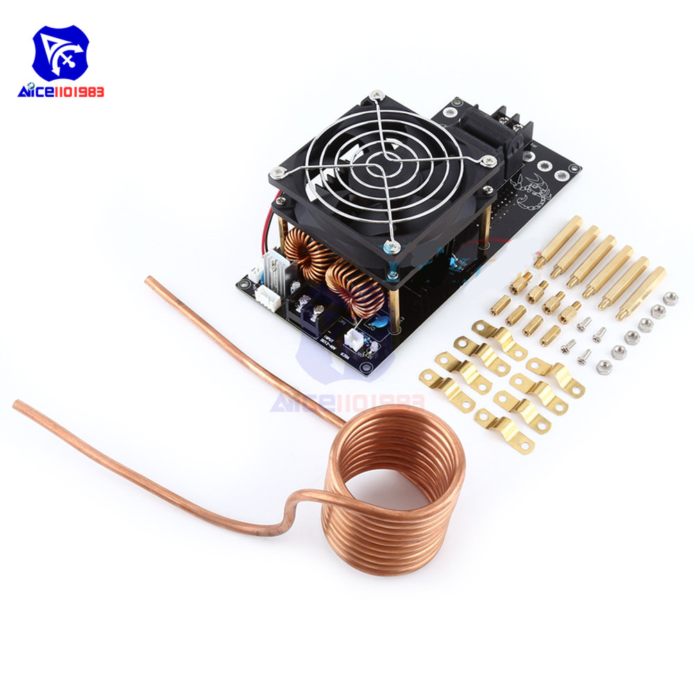 1000W 12-36V 20A Assembled ZVS Tesla Coil Induction Heating Board Module Heater Cooling Fan
