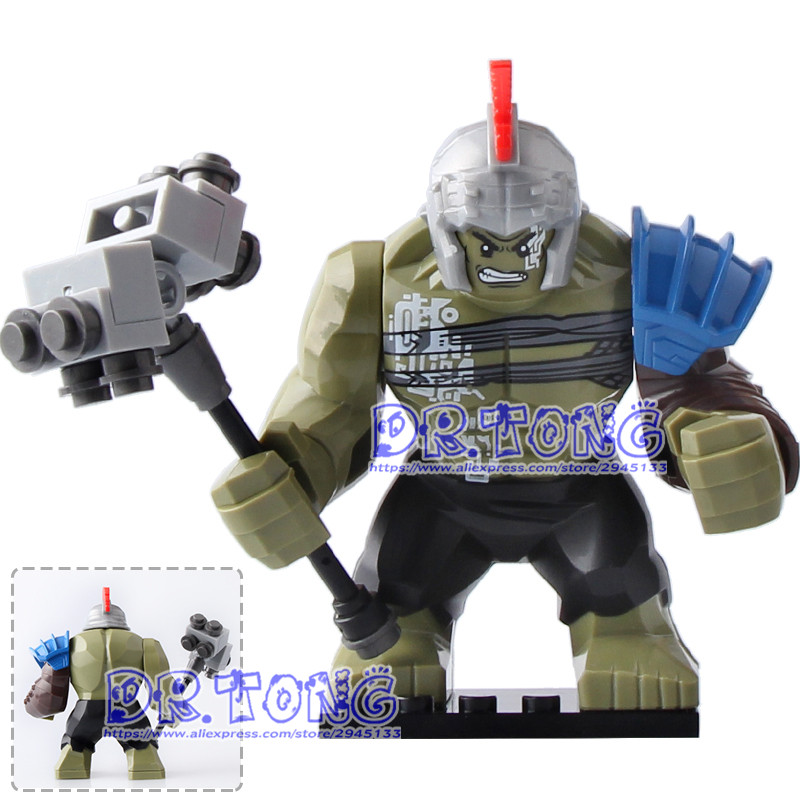 DR TONG 20pcs/lot XH654 Super Heroes Avengers Thor Ragnarok 76088 Hulk 7cm Big Size Building Blocks Bricks Toys Children Gift dr tong 80pcs lot sy658 super heroes hulk superman thor batman ironman spiderman building blocks bricks diy toys children gifts
