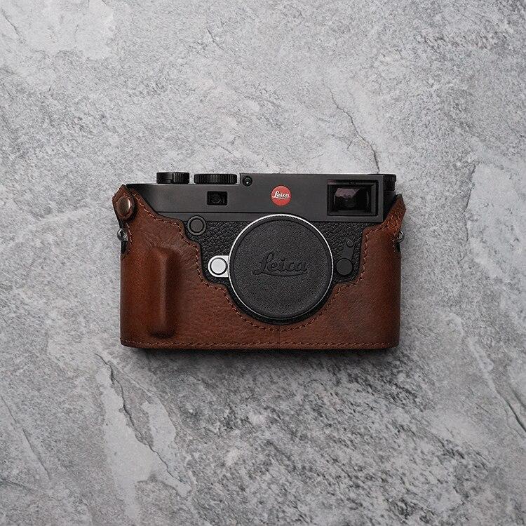 O sr. stone Marca Caixa Da Câmera Para Leica M10 Saco Artesanal de Couro Genuíno Meia Tampa Inferior Do Corpo