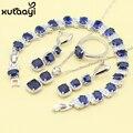 Mulheres de Quatro Peças Azul Safira Sintética Moda 925 Conjuntos de Jóias de Prata Angelical Colar Anel Brinco Pulseira Caixa Livre
