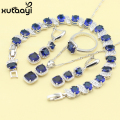 Women Four Piece Blue Synthetic Sapphire Fashion 925 Silver Jewelry Sets Angelic Necklace Ring Earring Bracelet Free Box