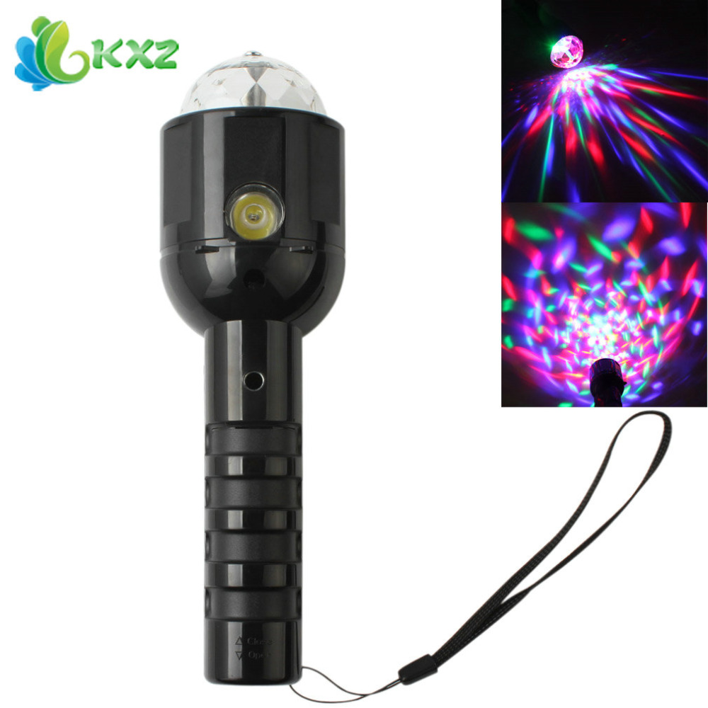 RGB Colorful Crystal LED Stage Light Effect Dj Disco Party KTV Club Bar Laser Projector Lamp + LED Flashlight Torch Flash Light
