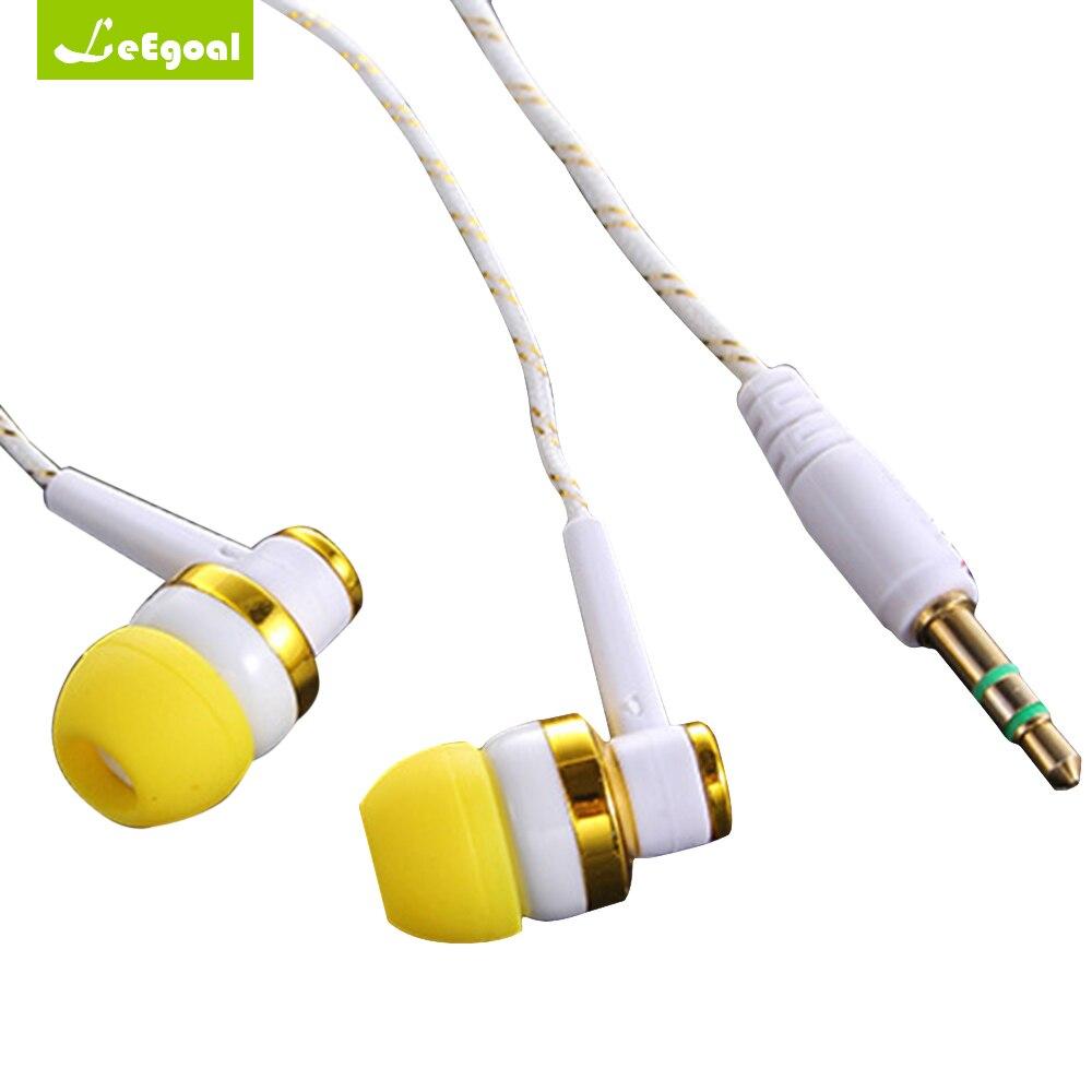 Leegoal Braided Rope Wire Cloth Rope Earphone Noise Isolating Earplug 1.1M Wiring Subwoofer Earphone For xiaomi phone MP3 MP4
