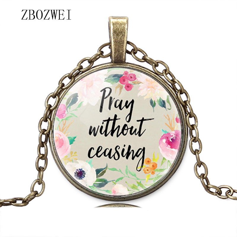 Image 3 - Hot models fashion prayer does not stop the Bible Christian  inspirational glass pendant necklace jewelry for men and womenChain  Necklaces