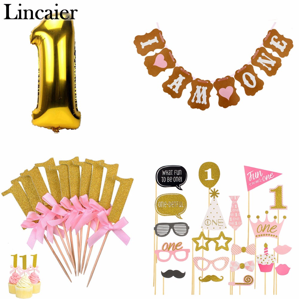 Lincaier 1st Happy Birthday Balloons Foil Number Balloons Banner First Baby Boy Girl Party Decorations My 1 Year Supplies