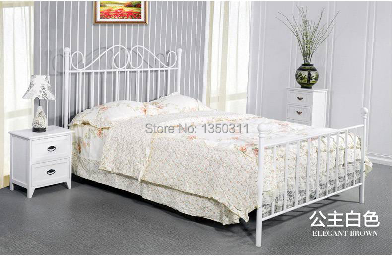 Simple European style Iron bed double bed  1.8 1.5 1.2 meters children bed white princess bedSimple European style Iron bed double bed  1.8 1.5 1.2 meters children bed white princess bed