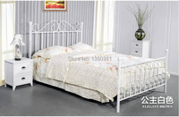Simple European style Iron bed double bed 1.8 1.5 1.2 meters children bed white princess bed