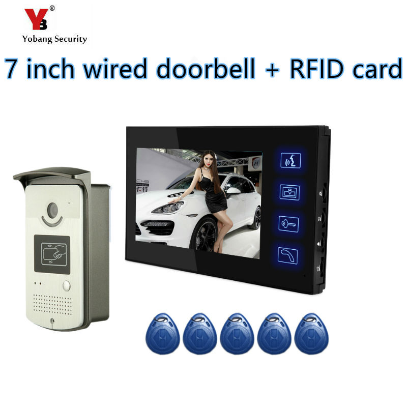 Yobang Security freeship 7 Video Intercom Door Phone System With 1 black Monitor 5 pcs RFID Card Reader HD Doorbell Camera Yobang Security freeship 7 Video Intercom Door Phone System With 1 black Monitor 5 pcs RFID Card Reader HD Doorbell Camera