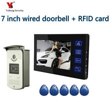 Yobang Security freeship 7″ Video Intercom Door Phone System With 1 black Monitor 5 pcs RFID Card Reader HD Doorbell Camera