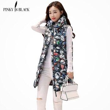 PinkyIsBlack Autumn Winter Women Vest 2018 New Fashion Print Long Ladies Vest Coat Thicken Hooded Warm Winter Women Waistcoat