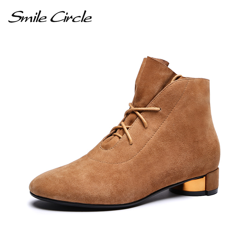 Smile Circle Autumn 2018 Ankle Boots for women High-quality Sheep Suede round toe Short Boots ladies Shoes Metal heel smile circle suede cow leather chelsea boots women ankle boot fashion rivets round toe lady shoes women high heel boots