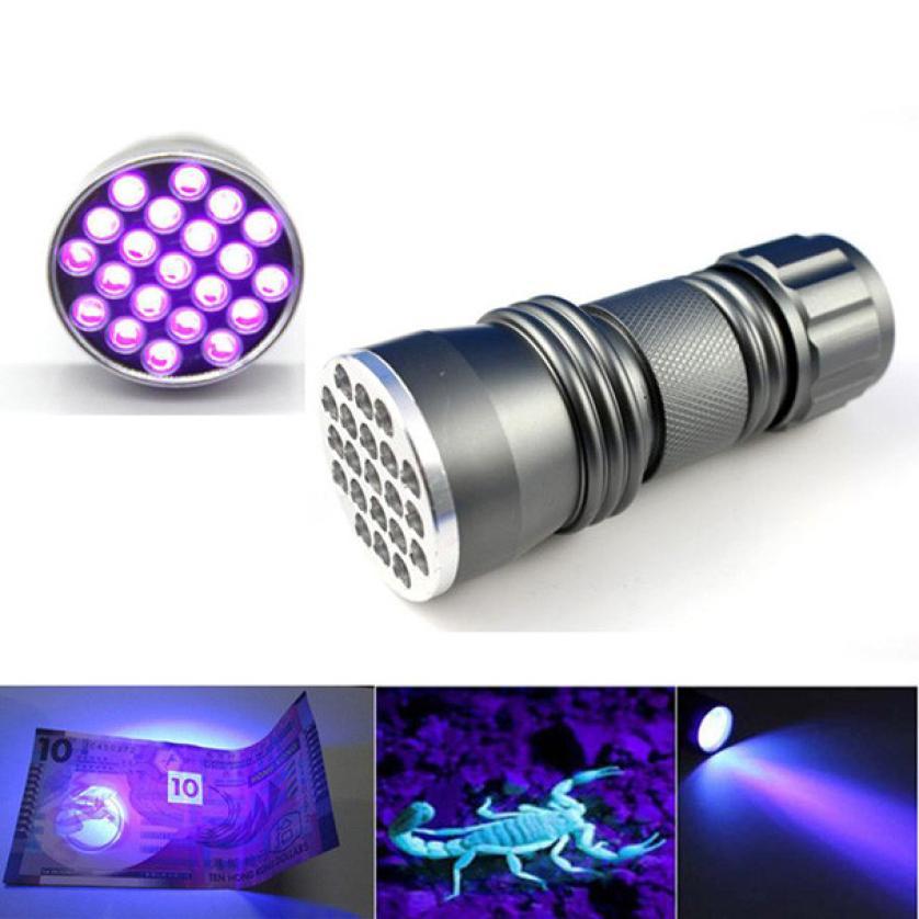 UV LED High Quality High Power UV Flashlight Detection Lamp UV 21 LED Mini Black Aluminum Flashlight AAA P35