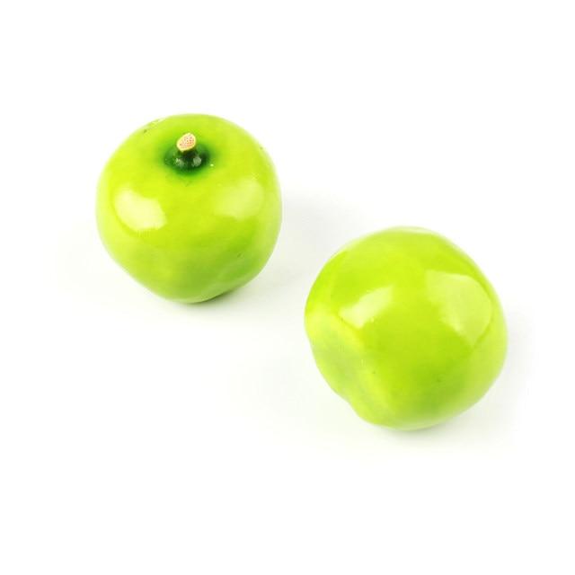 Home 30Pcs Fake Green Mini Apples Plastic Artificial Fruit House Party Kitchen  Decor #41053