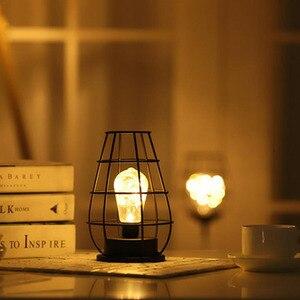 Image 3 - LED Retro Lamp Ijzeren Tafel Winebottle Koperdraad Nachtlampje Creatieve Hotel Home Decoratie Bureaulamp Night Lamp Batterij Aangedreven