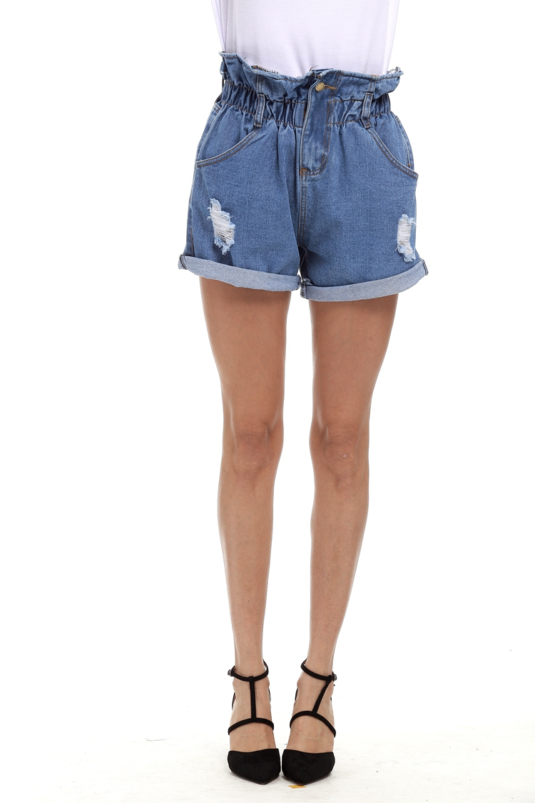Ripped Denim Shorts Women Fashion Crimping Hem High Waist Blue Denim Ladies Shorts Casual Jean ...
