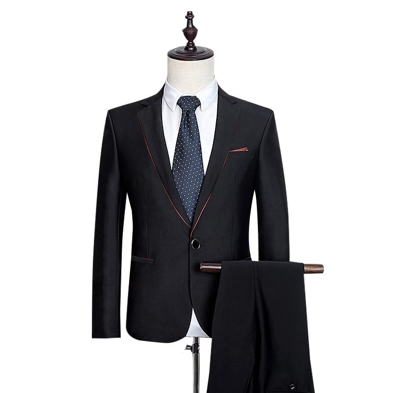 Blazer + Pantalones para hombres Pantalones moda formal blazer Business  estilo clásico boda trajes negro de alta calidad Gent vida d8af7cad287