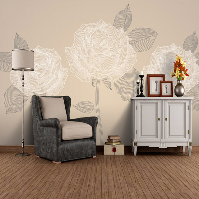 Hot Sale Wall Wallpaper Light Color Rose Mural Home Decor Room Wall Mural  Wallpaper