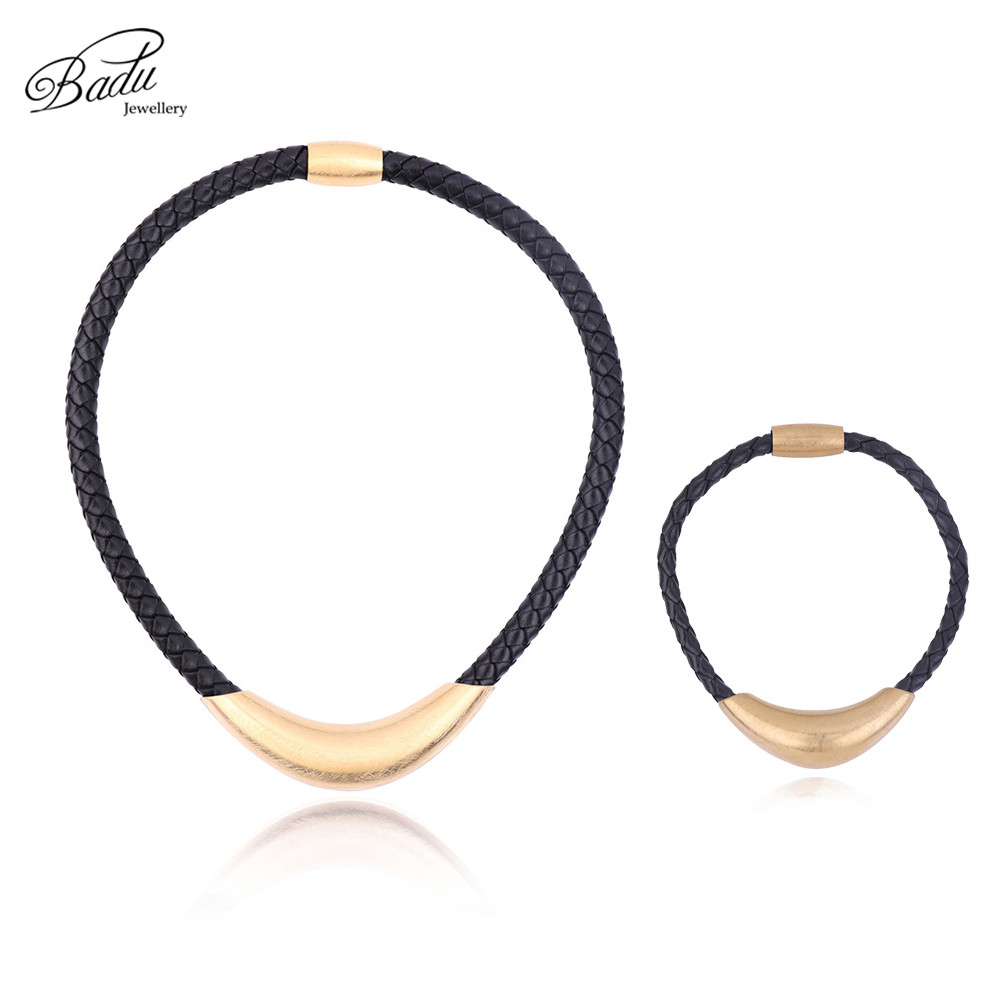 Badu Golden Stainless Steel Necklace Bracelet Punk Black Braided Leather Jewelry Sets Classic Fashion Women/men necklaces badu golden stainless steel necklace bracelet punk black braided leather jewelry sets classic fashion women men necklaces