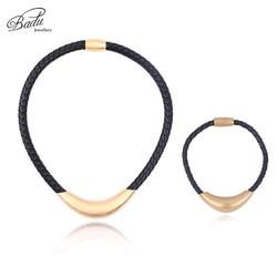 Badu Golden Stainless Steel Necklace Bracelet Punk Black Braided Leather Jewelry Sets Classic Fashion Women/men necklaces