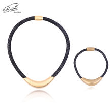 Badu Golden Stainless Steel Necklace Bracelet Punk Black Braided Leather Jewelry Sets Classic Fashion Women/Men Necklaces(China)