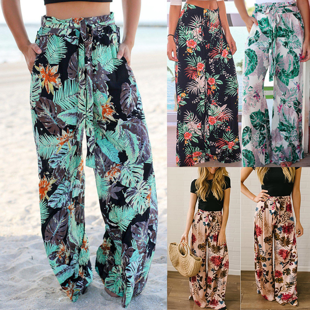Bohemian Women's Leaf Floral Printed   Wide     Leg     Pants   Casual Loose Lace Up High Waist   Pants   Summer Beach Holiday Ladies Trousers