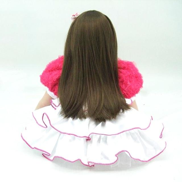60cm Silicone Reborn Baby Doll Toys Lifelike 24inch Vinyl Princess Long Hair Toddler Girl Babies Doll