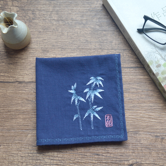 Bamboo Retro Embroidered Cotton And Linen Handkerchief Birthday Guests Chinese Wind Elders Gift