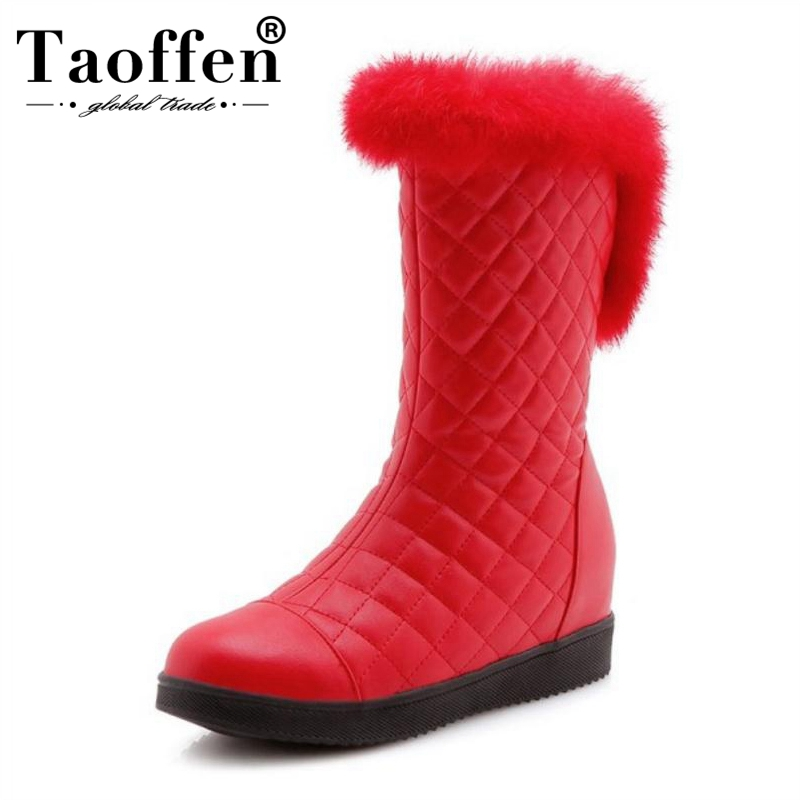 TAOFFEN Women Warm Snow Wedges Boots Thick Fur Platform Shoes Women Winter Mid Calf Plush Boots Fashion Shoes Size 31-41TAOFFEN Women Warm Snow Wedges Boots Thick Fur Platform Shoes Women Winter Mid Calf Plush Boots Fashion Shoes Size 31-41