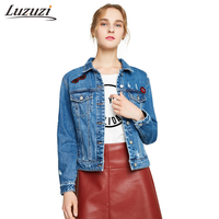 Women Denim Coats Latest Fashion Back Cartoon Appliques Female Hole Denim Jackets England Style Girls Spring