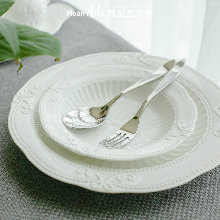 Baroque style palace reliefs French bone china soup plate dish white ceramic dish Chinese medium and small models-in Dishes \u0026 Plates from Home \u0026 Garden on ... & Baroque style palace reliefs French bone china soup plate dish white ...