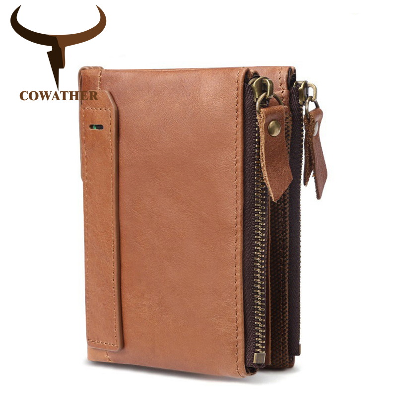 COWATHER Short Unisex Wallet 2019 Newest Design Wallet Cow Genuine Leather Purse Top Quality Cowhide Fashion Purse Free Shipping