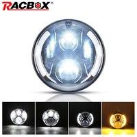 RACBOX 7 светодиодный фар 80 Вт 12 В 24 В Hi/Lo с белым DRL Янтарный Включите свет для Jeep Wrangler JK Hummer Land Rover 7 дюймов налобный фонарь