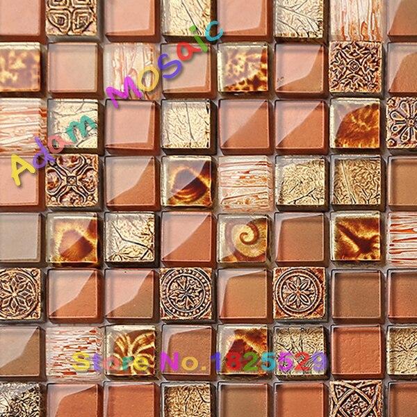 Naranja azulejo de mosaico baño arte diseño marrón azulejo ...
