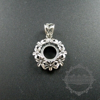 10mm Setting Size Flower Antiqued Silver Solid 925 Sterling Silver Pendant Charm Bezel Tray DIY Jewelry