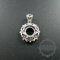10mm ayarı boyutu çiçek antiqued gümüş katı 925 gümüş kolye çekicilik çerçeve tepsi DIY takı malzemeleri bulma 1411160