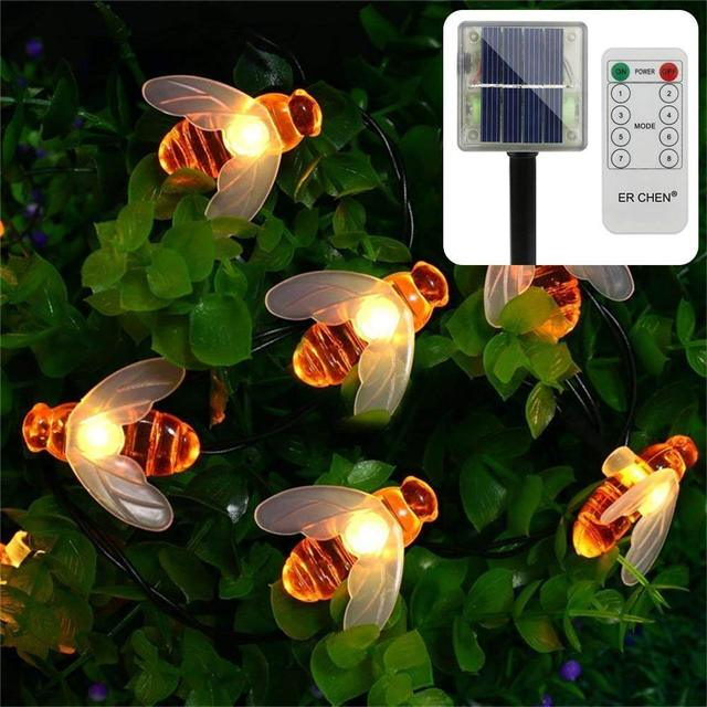 30 Cute Honeybee Remote Control Solar Powered String Lights 15FT 8 Modes Waterproof Fairy Decorative Light for Outdoor, Garden,