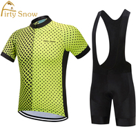 Firty Snow Cycling Jersey Sets Summer Men Short Sleeve Set Bike Quick Dry Bib Breathable Sport