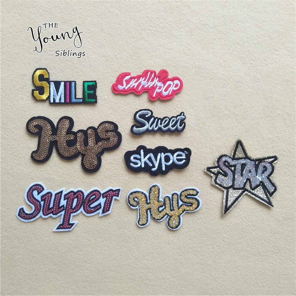 Hot sale Sequins Letter Star iron on patches Embroidered cloth Stripes badges DIY Kids Clothing Shoes Bags Stickers Accessories
