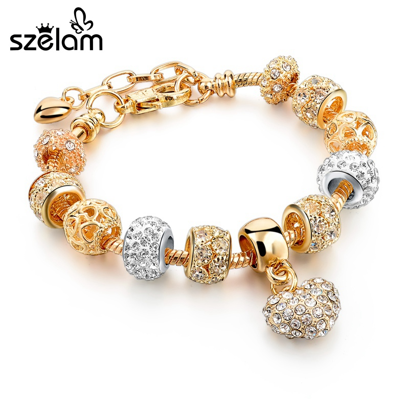 Szelam Luxury Crystal Heart Charm Bracelets & Bangles Gold Bracelets For Women Jewellery Pulseira Feminina Sbr160056