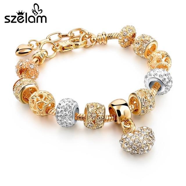 Szelam Luxury Trái Tim Pha Lê Quyến Rũ Vòng Đeo Tay & Bangles Vòng Đeo Tay Vàng Cho Phụ Nữ Đồ Trang Sức Pulseira Feminina Sbr160056