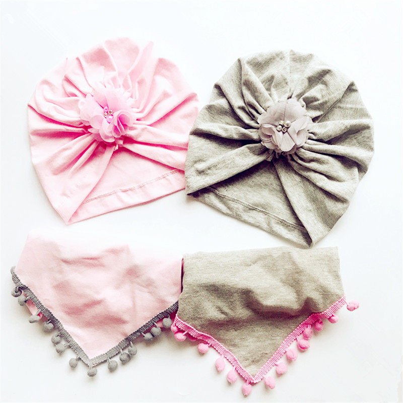 Girl Hat Scarf Cotton Beanie Warm Autumn Winter Kids Fashion Children Flower-Hat