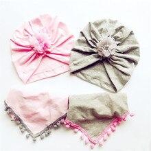 Модная детская шапка для девочек, эластичная Хлопковая шапочка с детским шарфом, осенне-зимняя теплая детская шифоновая шапка с цветочным принтом
