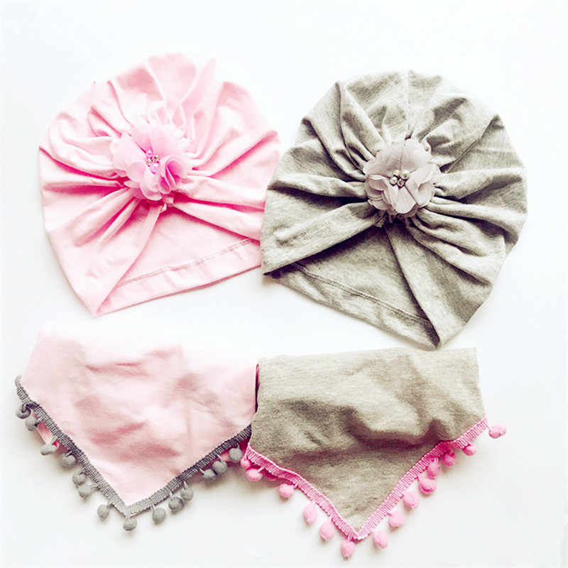 Fashion Kids Girl hat Elastic Cotton Beanie Cap with kids scarf Autumn Winter Warm children chiffon flower hat