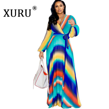 XURU chiffon print dress beach large size dress S-5XL women's long sleeve V-neck casual loose dress 2