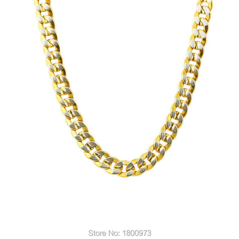 Venta al por mayor, collar de cadena con relleno de oro amarillo y plata para hombres y mujeres