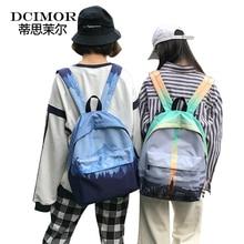 DCIMOR Women Canvas Backpack Female Landscape Printing Travel Bag School Bag for Teenage Girls Shoulder Book bag Ladies Mochila