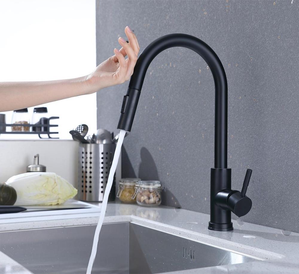 Acier inoxydable capteur robinets de cuisine noir toucher inductif sensible robinet mitigeur poignée unique double sortie Modes d'eau