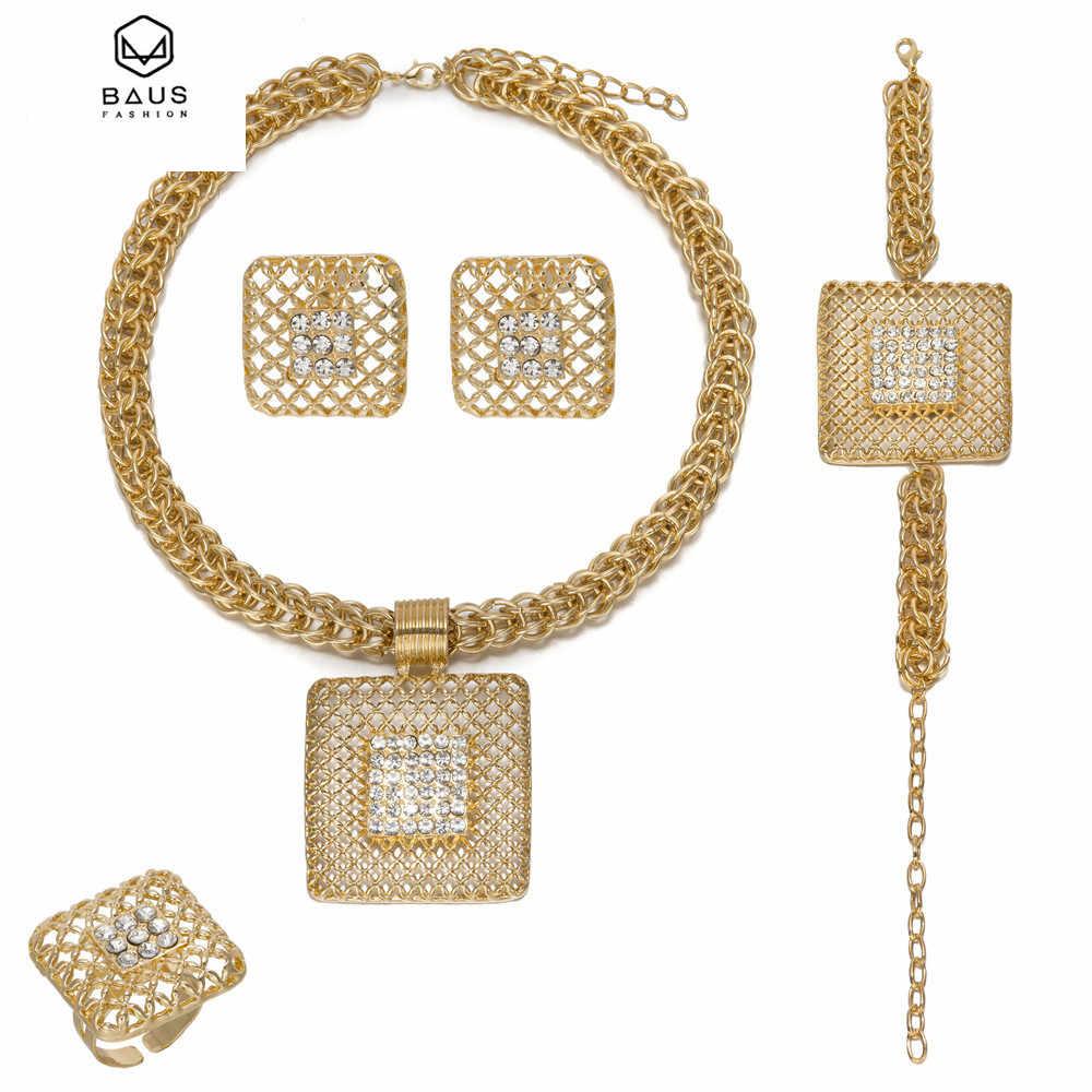Châu Phi thời Trang Sức Sets Big Choker Necklace Earrings Đặt Đối Với Phụ Nữ Quảng Trường Hollow Ra vàng Màu Vòng Đeo Tay Kỷ Niệm