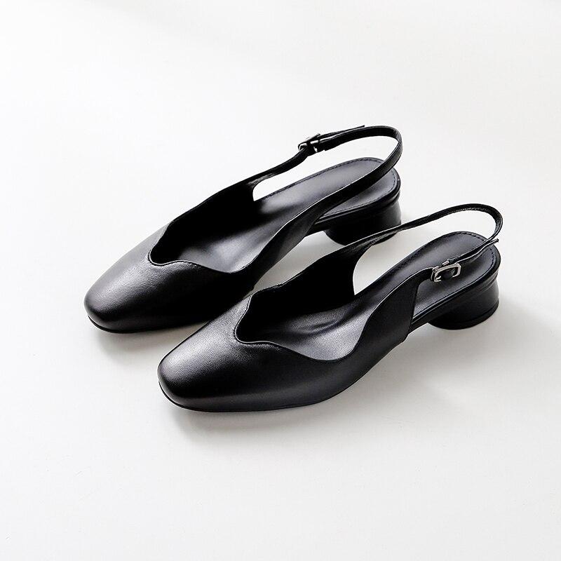 2019 nuevos zapatos de cuero genuino sandalias de mujer 3 cm tacones bajos cómodos vestido de fiesta de verano mather zapatos talla grande 41-in Sandalias de mujer from zapatos    2