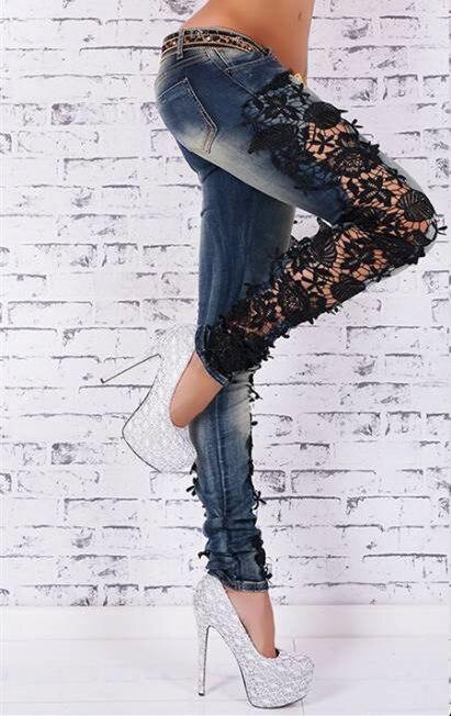 2017 hotsale jeans Autumn Women leggings Fashion low waist Legings lace denim patchwork Leggings Large Size pants leggingsYYS02